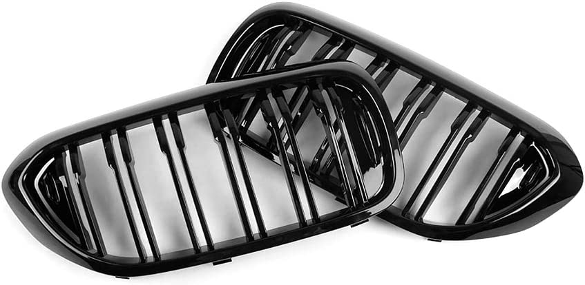 SNA M Color G30 Grille Front Kidney Grill Compatible for 2017-2020 BMW 5 Series G30 ABS Double Slats Gloss Black Grills, 2-pc Set
