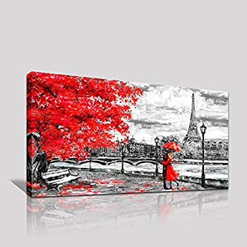 Youkuart Canvas Wall Art Black White And Red Umbrella Couple In Street Big Ben Oil Painting