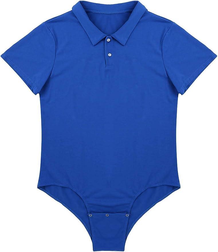 Men/'s Button Crotch Shirt Zipper Bodysuit Short Sleeve Leotard Undershirt Romper