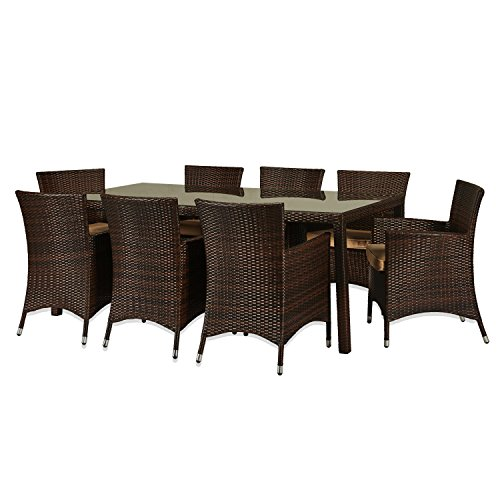 The-Hom Doha 9 Piece Wicker Patio Dining Set in Beige