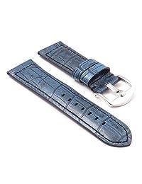 DASSARI Cartel Blue Crocodile Embossed Leather Watch Band for Panerai 26/24 26mm