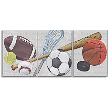 Stupell Home Décor Sports Balls 3-Pc Rectangle Wall Plaque Set, 11 x 0.5 x 15, Proudly Made in USA