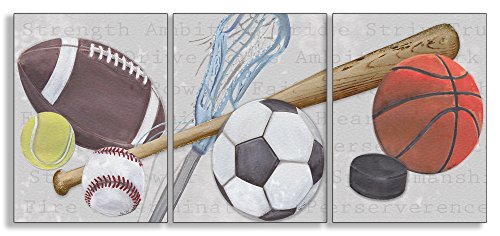 The Kids Room by Stupell Sports Balls 3-Pc Rectangle Wall Plaque Set, 11 x 0.5 x 15, Proudly Made in USA (Hanging Letters Wall Sports)