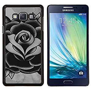 Rosa Negro Blanco Gris Ink Tattoo Pétalo- Metal de aluminio y de plástico duro Caja del teléfono - Negro - Samsung Galaxy A7 / SM-A700
