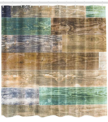 (ASOCO Fabric Shower Curtain Old Wood Wall Natural Shabby with Turquoise Faded Colors Bathroom Shower Curtains Resistant Waterproof Set of Hooks 72X78 Inches)