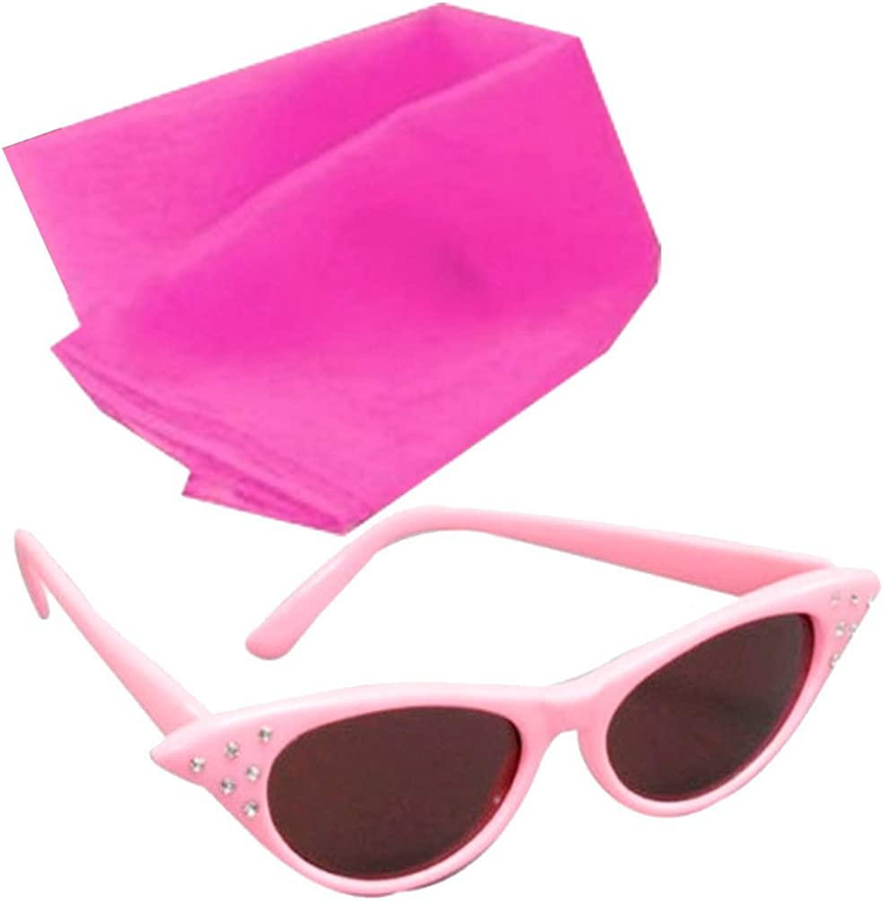 LADIES PINK GLASSES WITH DARK OR CLEAR LENSE SCARF 1950S FANCY DRESS ACCESSORY