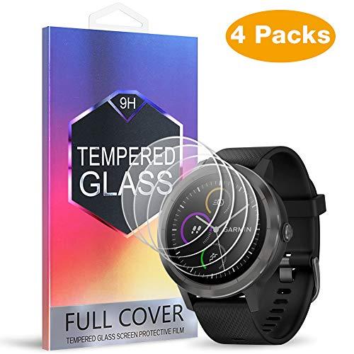 MEBUYZ Garmin Vivoactive 3 Screen Protector for Garmin Smart Watch, 4 Pack Tempered Glass Screen Protector for Vivoactive 3 Ultra Clear Scratch Resistant Anti-Bubble 1-3 (1-1)