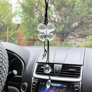 cogeek crystal four leaf clover interior accessories car charms pendants for auto. Black Bedroom Furniture Sets. Home Design Ideas