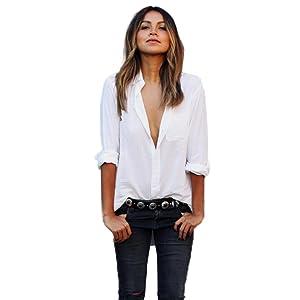 febecool blouse,Women Long Sleeve Shirt Large Loose Size Pocket Shirts V Neck Tops (Small, White)