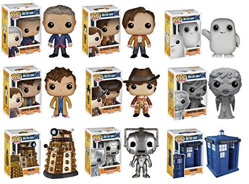 "Funko Doctor Who Dr #10, Dr #11, Dr #12, Dr #4, Adipose, Cyberman, Dalek, Weeping Angel and 6"" Tardis Vinyl POP! Action Figures Set of 9"