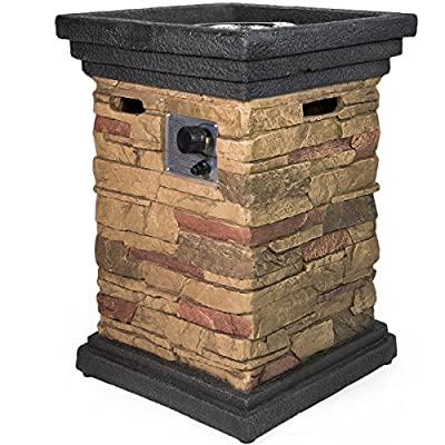 Barton Outdoor Propane Fire Pits w/Cover, Column, Slate Rock