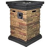 Barton Outdoor Propane Fire Pits w/ Cover, Column, Slate Rock