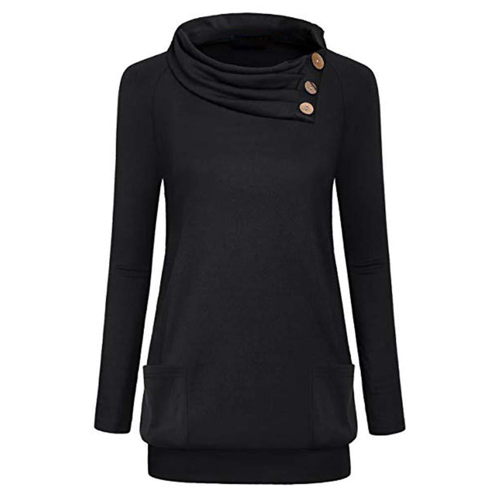YUTAO Womens ButtonTunic Shirt Cowl Neck Jumper Top Long Sleeve Pullover Sweatshirts
