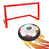 Air Power Soccer Disc with Football Goal, 5.5-inch Children Sport Training Football Gliding Ball with Foam Bumpers, Hovering Soccer Football Disc with LED Lights, Powerful LED Hover Ball