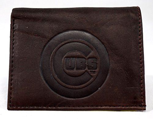 Rico MLB Chicago Cubs Tri-Fold Leather Wallet, Brown