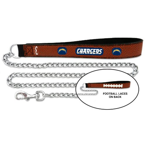 NFL San Diego Chargers Football Leather 3.5mm Chain Leash Large