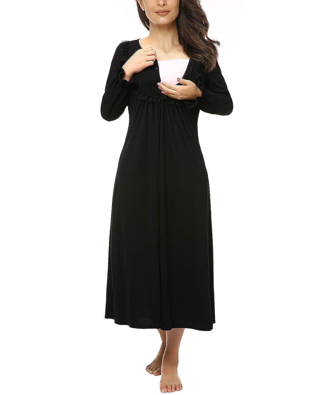 42d278baa7 Suzicca Women's Cotton Victorian Vintage Lace Long Nightgown Sleepwear  Maternity Dress at Amazon Women's Clothing store: