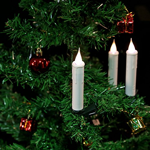 (GiveU Set of 10 Taper Remote Control LED Christmas Tree Candles with Clip, Battery Included, White)