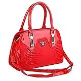 Top Shop Womens Leather CROCO Shoulder Handbags Casual Tote Messenger Bags Red Hobos