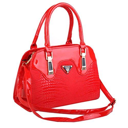 Hobo Handbag Croco (Top Shop Womens Leather CROCO Shoulder Handbags Casual Tote Messenger Bags Red Hobos)