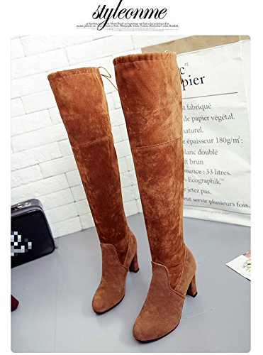 Mid Party Brown Over Boots Heel Block Women Thigh Shoes The Evening Knee Stretch High Gaorui AtP8xw66q