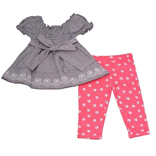 - Real Love Baby Girls Coral Gathered Sleeve Dress Floral 2 Pc Pant Outfit 12M