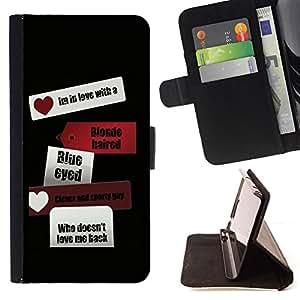 - BLACK SIGN LOVE TEXT TRAVEL BLACK HEART - - Prima caja de la PU billetera de cuero con ranuras para tarjetas, efectivo desmontable correa para l Funny HouseFOR Apple Iphone 5C