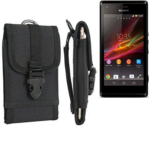 bolsa del cinturón / funda para Sony Xperia M Dual, negro | caja del teléfono cubierta protectora bolso - K-S-Trade (TM)