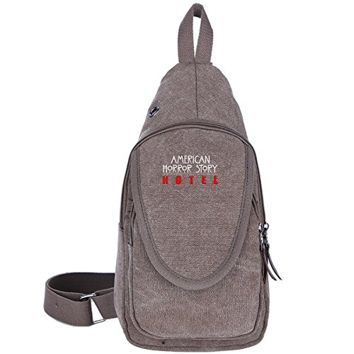 [Brown American Horror Story Hotel Logo Casual Canvas Shoulder Bag For Men Women] (Lady Gaga Video Costumes)