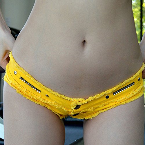 Denim Hot Pants Donna Vita Bassa Yellow Sexy Pantaloni Jeans Shorts OdaBRw