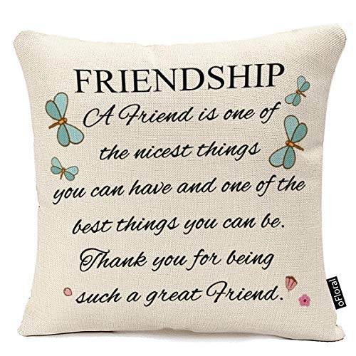 oFloral A Friend is One of The Nicest Things The Best Friendship Gift to Friends Throw Pillow Cover Cushion Case Cotton Linen Decorative 18X18 inches Pillow Case