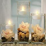 Flameless Floating Candles Tealights, Waterproof Floating on Water LED Tea Light Mini Candles, Battery Powered Amber Yellow Flickering Small Fake Candles Votive Style, Pack of 12 (white)