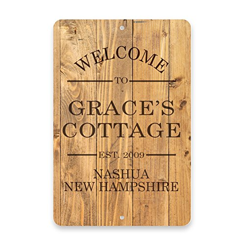 Personalized Rustic Wood Plank-Look Welcome to the Cottage Metal Room Sign (Wood Aluminum Pattern Plank)