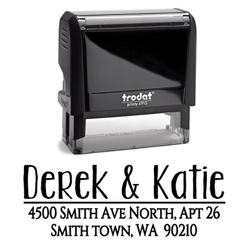 Black Ink, Custom Personalized Self Inking Return Mail Address Stamp - Brilliant Gift for Family, Newlyweds, Bridal Shower, Teacher or Clients