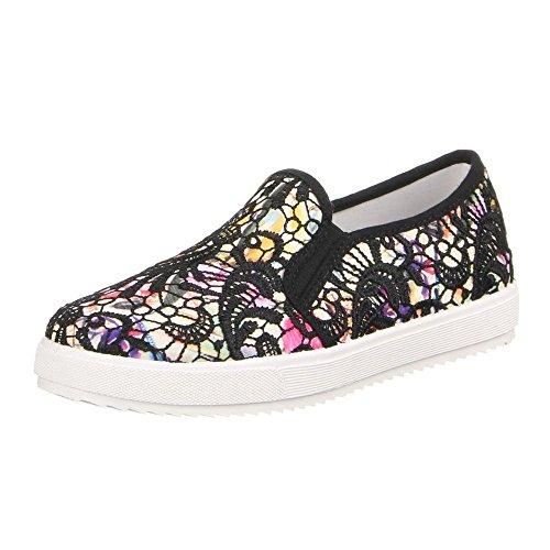 Women's shoes, low shoes, W-61 multi-coloured - Schwarz Multi