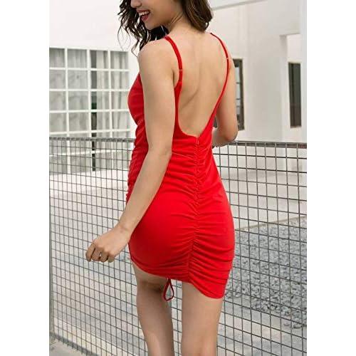 COMVIP Reizvoll Damen Slim Kleider V-Ausschnitt Cocktailkleid Partykleid Wickelkleider
