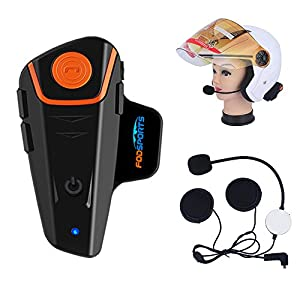 Fodsports BT-S2 1000M Bluetooth Intercom Headset, Motorcycle Helmet Interphone Communication System Headphone for Motorbike/ Skiing,FM Radio (2.5mm Audio cable,single of hard cable)