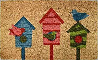 Avera Products Bird House Trio Welcome Mat, All Natural Coir Fiber with Anti-Slip PVC Backing, 17x29 ADS010