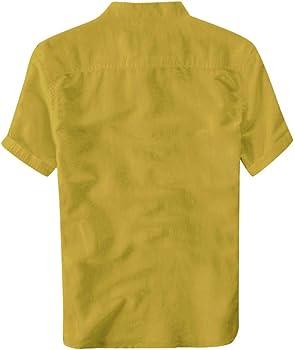 Overdose Camisas Hombre Lino De Verano Hawaiana Originales para Bodas Camisas Hombre Sin Cuello Camisetas Hombres Blusa Tops Manga Corta De Vestir Vintage Slim Fit Informal Uni Color: Amazon.es: Ropa y accesorios