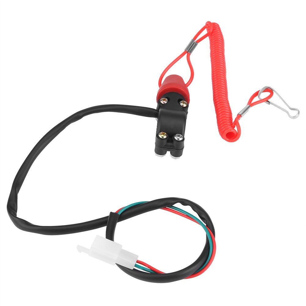 22mm 7//8 Motorcycle Boat Outboard Engine Motor Kill Stop Switch W//Tether Lanyard Cord Outboard Engine Stop Switch