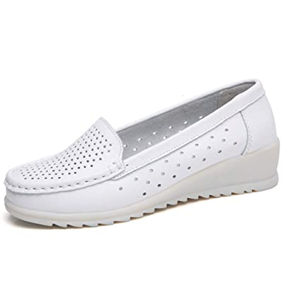 ZOVE Womens Nurse Shoes Comfort Wedge Slip On Leather Work Nursing Loafers White Medical Shoes: Shoes