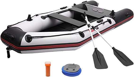 PEXMOR 7.5/10FT Inflatable Dinghy Boat 0.9mm PVC Sport Tender Fishing Raft Dinghy with Trolling Motor Transom
