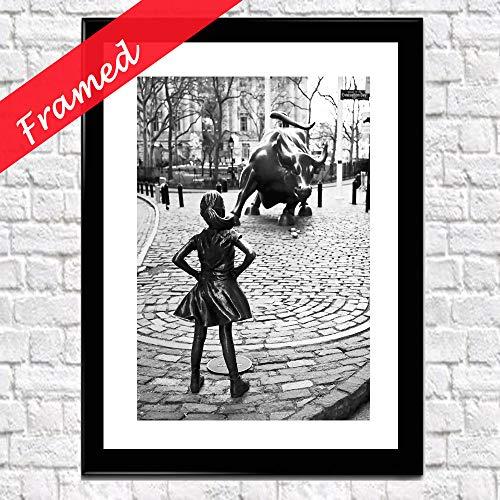 (Framed Fearless Girl Photo Fearless Girl Wall Street Framed Art (Black))