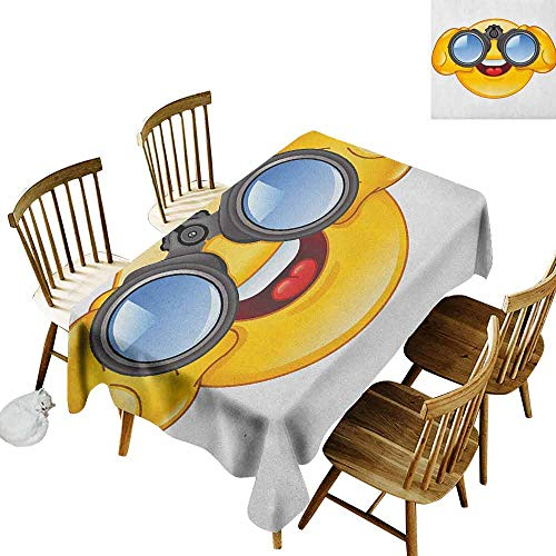 DONEECKL Emoji Soft Fabric Tablecloth Quick Wipe Smiley Face with a Telescope Binoculars Glasses Watching Outside Cartoon Print Yellow and Blue W60 xL84