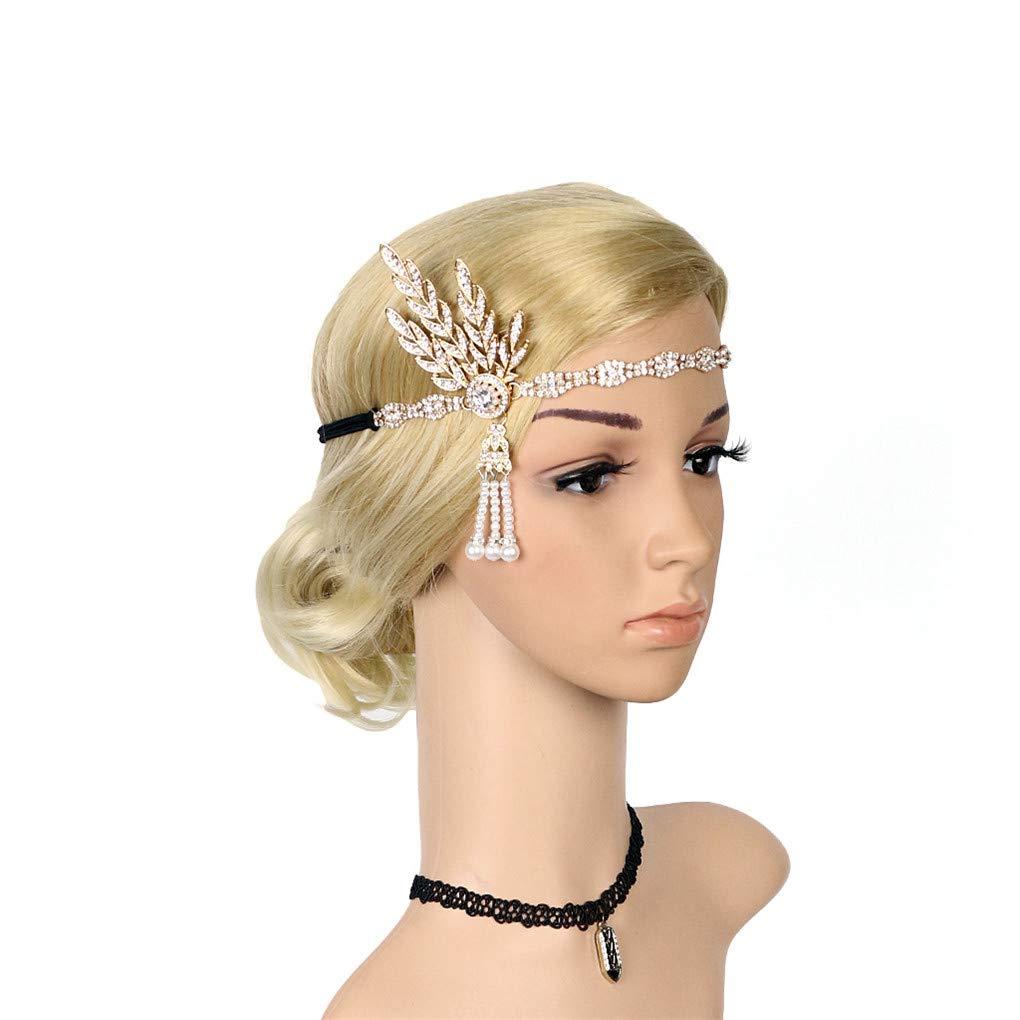 1920s Flapper Hair Clip Great Gatsby Leaf Tiara Pearl Headpiece JND-MZ-TS-HA5831B-DZBlack