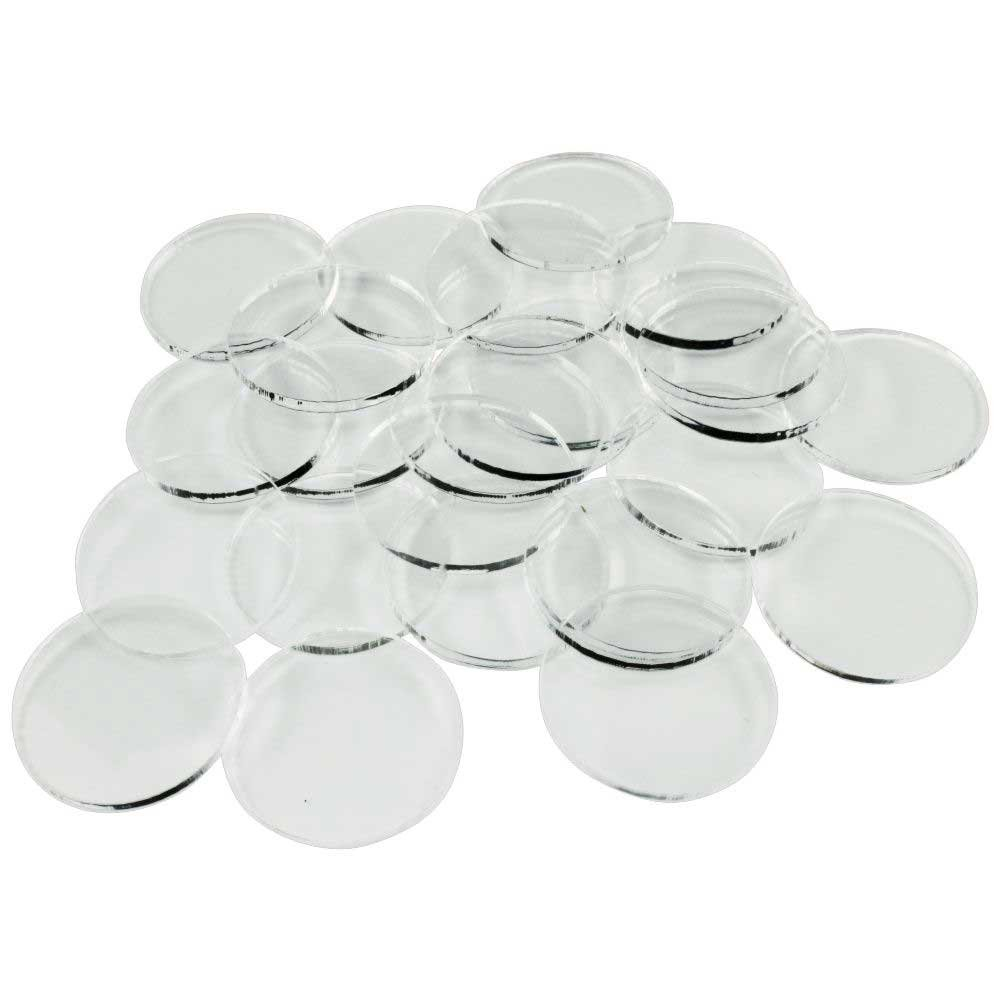 Litko Game Accessories 25mm Clear Circular Miniature Bases, 1.5mm Thick (25 pack)