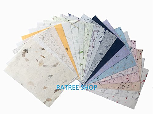 Handmade Decorative Paper (20 Mulberry Paper Sheet Design Craft Hand Made Art Tissue Japan Origami Washi Wholesale Bulk Sale Unryu Suppliers Thailand Products Card Making,Mulberry Paper Natural Leaves and Dried Flowers.)