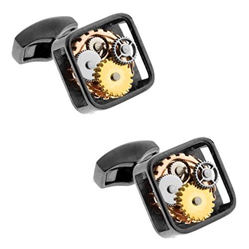 Tateossian Mens Square Silver Cufflinks Gear Cufflinks - Silver/Gold