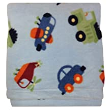 Baby Nursery Fleece Blanket in Blue with Cars and Planes