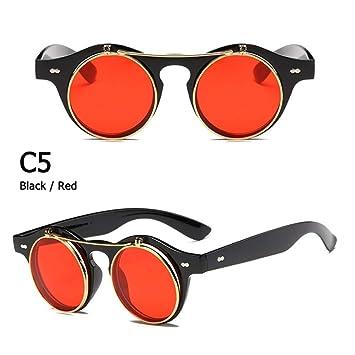ZHOUYF Gafas de Sol Moda Vintage Redondo Steampunk ...